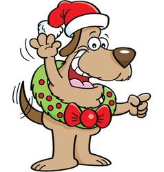 Cartoon Dog Wearing a Christmas Wreath vector