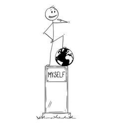 Cartoon of statue of egoist selfish man standing vector