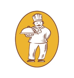 Chef Baker Cook With Platter vector image