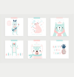 christmas set with cute bears celebrating vector image