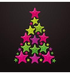Christmas tree made of stars vector image