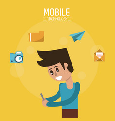Color poster of mobile technology with man half vector