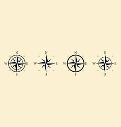 compass icon nautical with north south vector image