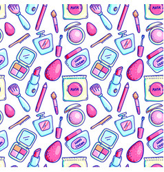 cosmetics supply seamless pattern background vector image