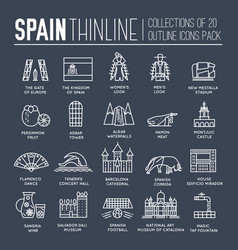 country spain thin line travel vacation guide of vector image