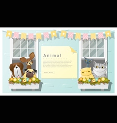 Cute animal family background with Dogs and Cats vector image