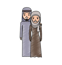 cute arab couple cartoon vector image