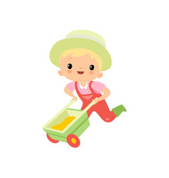 Cute boy in overalls rubber boots and hat pushing vector