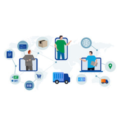 Delivery system global logistics worldwide vector