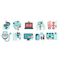 Digital medicine icons set vector