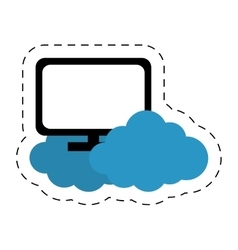 Display computer network office cloud cut line vector