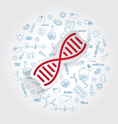 dna icon on handdrawn healthcare doodles vector image