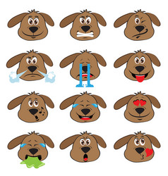 Dog emojis set of emoticons icons isolated vector