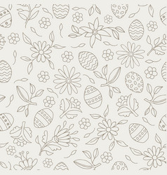 Easter elements seamless flower pattern background vector