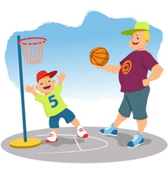 Father playing basketball with his son vector image