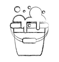 Figure laundry pail with detergent bubbles to vector