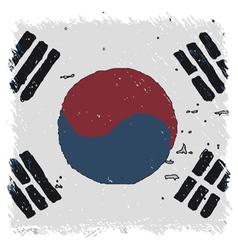 Flag of Flag South Korea handmade square shape vector image