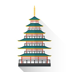 Flat japan multistory pagoda icon vector
