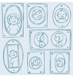 framed kids pattern vector image
