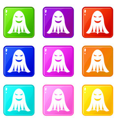 Ghost icons 9 set vector