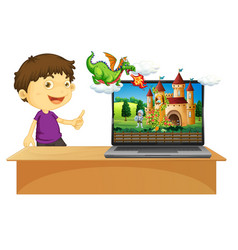 Girl next to computer with fairy tale background vector