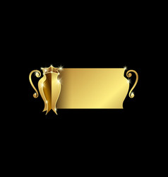 Golden cup champions with space for text vector