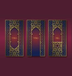 Golden packaging design in oriental style set vector