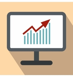 Graph on the computer monitor flat icon vector image