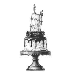 hand drawn divorce cake vector image