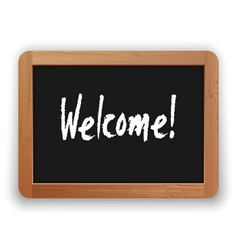 hand drawn welcome word on a blackboard vector image