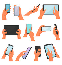 hands with gadgets hand holding mobile vector image