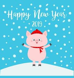 happy new year pig on snowdrift falling vector image