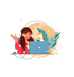 happy woman with glasses using laptop for distance vector image
