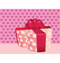 Heart shaped pink gift box2 vector image