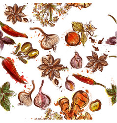 herbs and spices seamless background with spices vector image