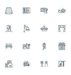 home decoration icons line style set with barstool vector image