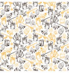 honey bee seamless pattern sketch hand drawn vector image