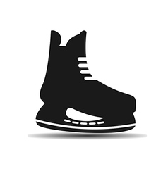 Icon set of mens hockey skates with shadow vector