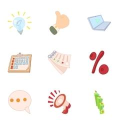 Information data icons set cartoon style vector