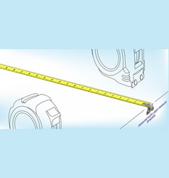 Isometric realistic measuring tape length design vector