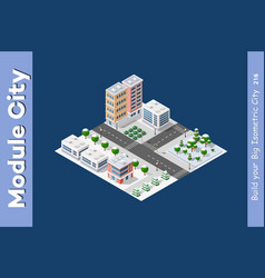 Isometric winter christmas town vector