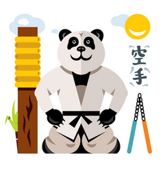 Karate panda flat style colorful cartoon vector