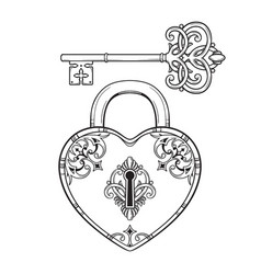 key and heart shaped padlock in vintage style vector image