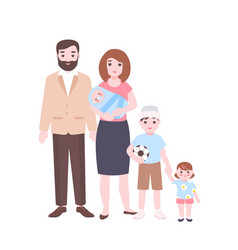 large family portrait mother holding newborn baby vector image