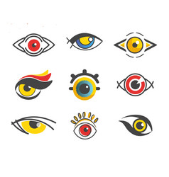 lens concept abstract eyes with color pupils vector image