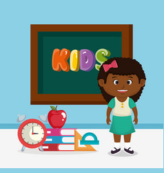 Little afro schoolgirl with chalkboard vector