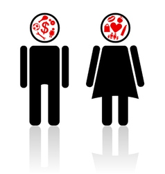man woman mind vector image