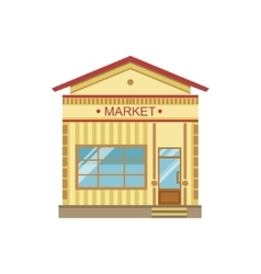 Market Commercial Building Facade Design vector