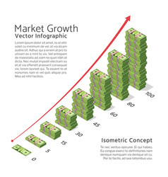 Market growth background with chart and vector