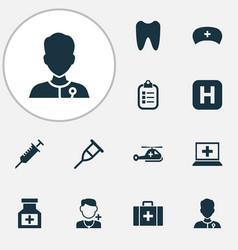 medicine icons set with case medicine tooth and vector image